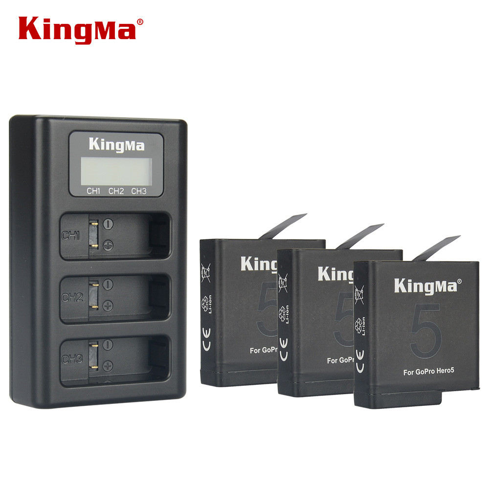 Original Kingma Battery for Gopro hero 7 3pcs and 3-Channel USB Charger for Gopro hero 7 silver black white for Gopro hero 6/5