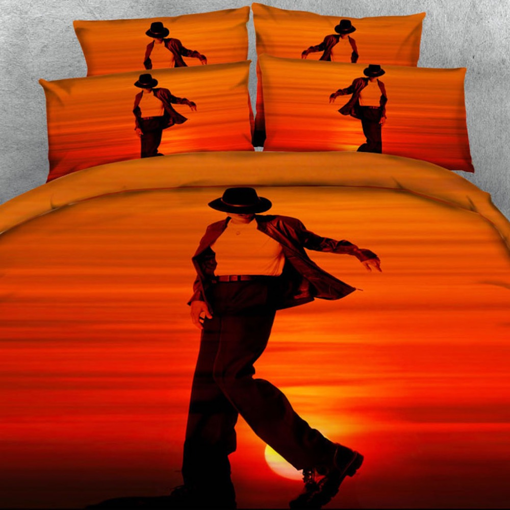 3 PCS PER SET Michael <font><b>Jackson</b></font> <font><b>Bed</b></font> sheet Style Dancing 3d Tencel Cotton bedding set luxury 3d <font><b>bed</b></font> sheet set