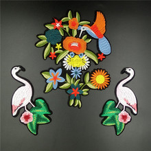 Quality Large Embroidered Patch Iron on with glue,pairs of Snake,tiger,flamingo,parrot +Flower Fashion 2017