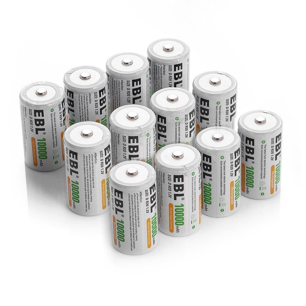 EBL 12 pièces 10000 mAh Taille D R20 Batterie Remplacement 1.2 v Piles Rechargeables Ni-MH pour Lampes de Poche Jouets livraison gratuite