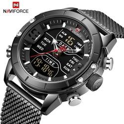 NAVIFORCE mężczyzn zegarek data tydzień sportowe męskie zegarki Top marka luksusowe wojskowe biznes kwarcowy ze stali nierdzewnej mężczyzna zegar|Zegarki kwarcowe|   -
