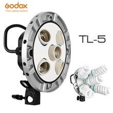 Godox Photo Studio TL 5 5in1 E27 gniazdo Tricolor światła żarówki głowica reflektora wielu uchwyt do kamery oświetlenie stock