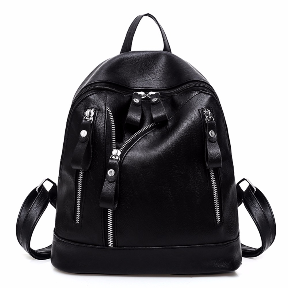 NEW 2017 Preppy Style Black Backpacks Mochila Feminin Women PU Shoulder Bag Student Bag Black Backpack Mochilas Escolar Feminina