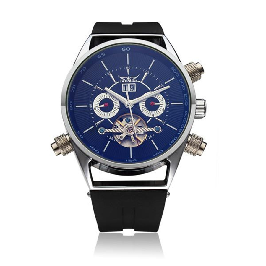 ФОТО JARAGAR Brand Mechanical Silicone Commercial Casual  Fashion Wrist Watch Flywheel Tourbillion Automatic Watch Relogio Releges