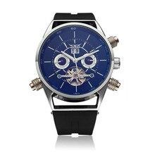 Jaragar marca de silicone moda casual comercial volante relógio de pulso turbilhão mecânico automático assista relogio releges