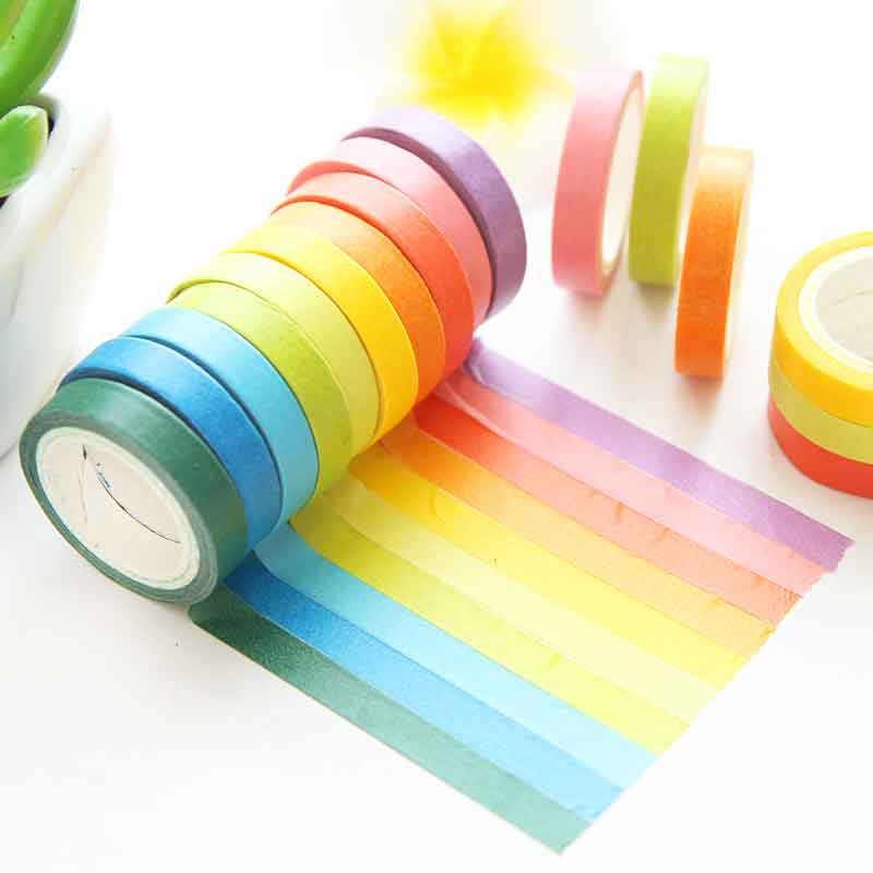 10Pcs/Set Color Rolls Paper Washi Masking Tape Rainbow Colours Sticky Adhesive DIY Craft Decor Washi Tape Stickers Scrapbooking