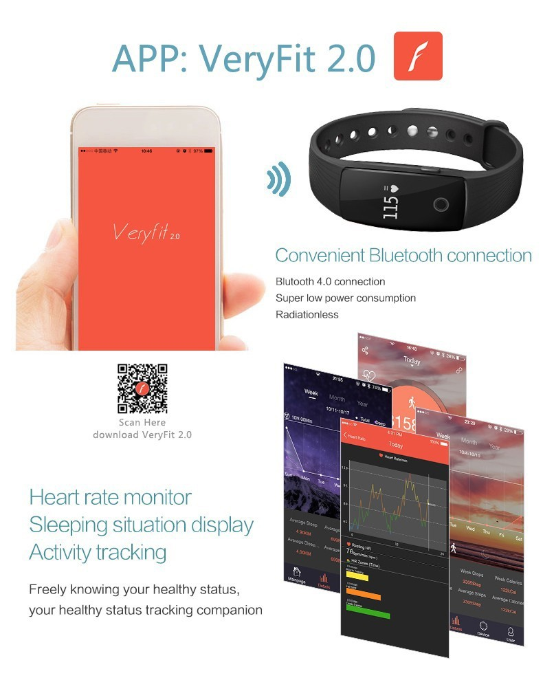 HearthRate Bluetooth Smart band Monitor best Wristband Fitness Tracker Veryfit 2.0 app pk xiaomi mi band cicret bracelet 7