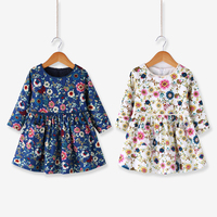 2 6T Girls Spring Autumn Broken Flower School Style Dresses Kids O Neck Long Sleeves Cotton