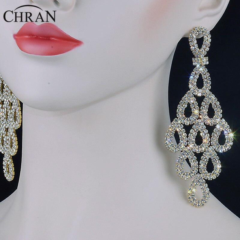 Chran 5 Inch Long Chandelier Earrings Rhinestone Dangle Drop Fashion Bridal Bridesmaid Accessories Gold Color