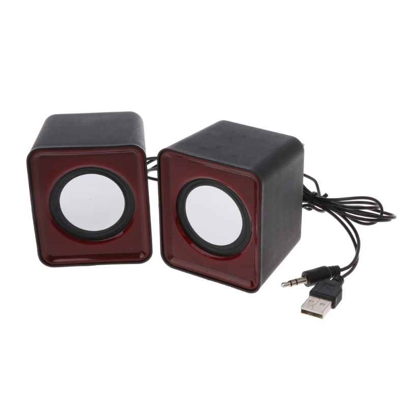 Laptop Portable Apple Style USB Powered 3.5mm Wired Desktop Speaker Set for PC
