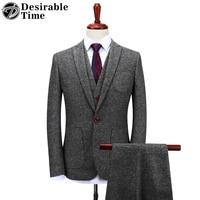 Желанная пора Для мужчин s серый шерстяной Костюмы Свадебные Жених S 4XL модный костюм Homme Slim Fit твидовый костюм Для мужчин dt151