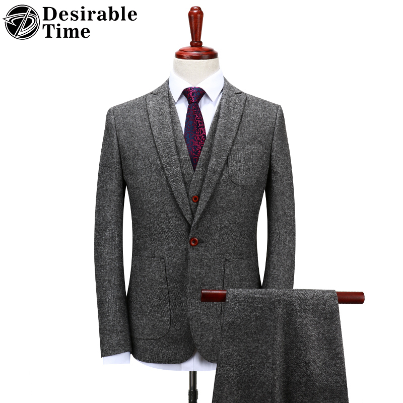 Desirable Time Mens Gray Woolen Suits Wedding Groom S 4XL Fashion Costume Homme Slim Fit Tweed Suit Men DT151