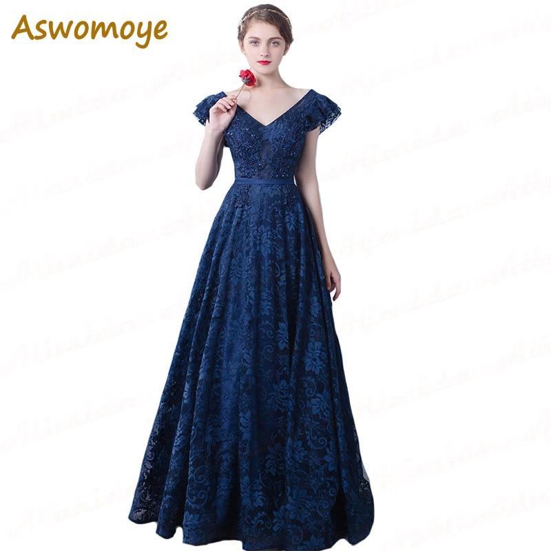 Designer Prom Dresses: ASWOMOYE 2018 New Designer Navy Blue Evening Dresses Long