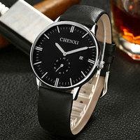2016 Fashion New Brand Black Genuine Leather Waterproof Dress Quartz Wristwatches Wrist Watch For Men Male