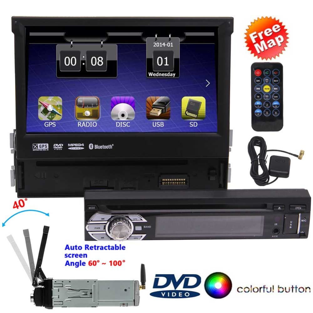 1 DIN Car DVD Player 7 Inch HD CD GPS WiFi Handfree Multimedia In-dash NAVI Plyers 1-DIN Instal