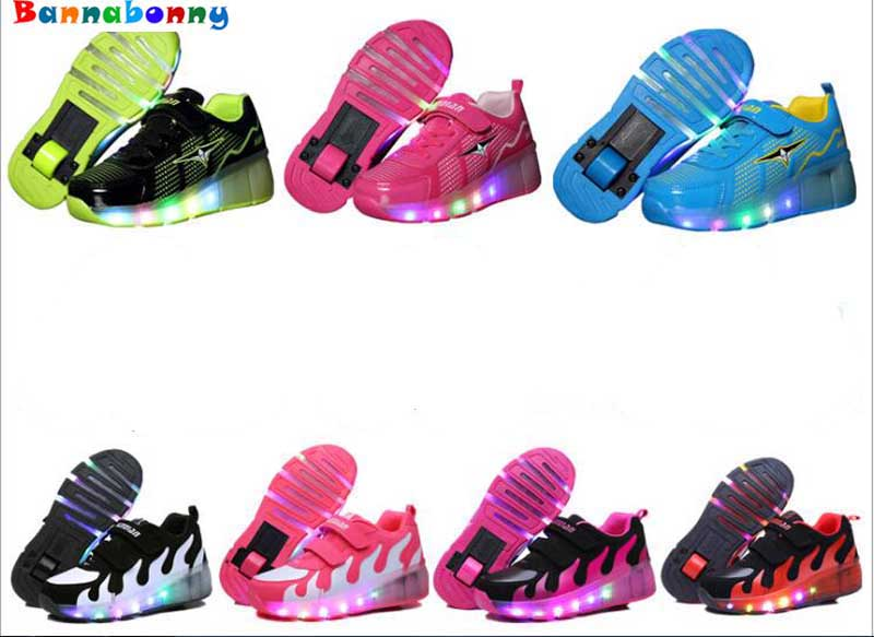 Children Shoes With Light With wheels Skate Boys And Girls Casual LED Shoes For Kids 2017 LED Light Up 7 Colors Kids Shoes 28-35 25 40 size usb charging basket led children shoes with light up kids casual boys