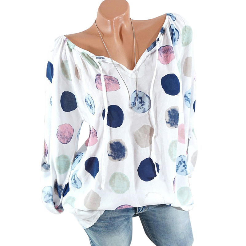Laamei 2018 Autumn Fashion Chiffon V-neck Women Blouse Long Sleeve Shirts Floral Print Plus Size Top Casual Office Lady Blusas 2