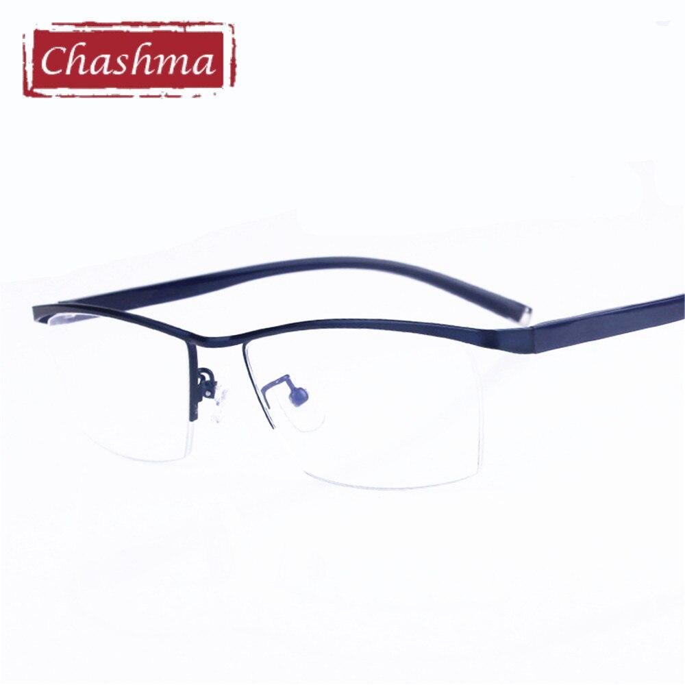 Men Optical Glasses Prescription Lenses Frame Half Rimmed Quality Eyewear Transparent Lens spectacles