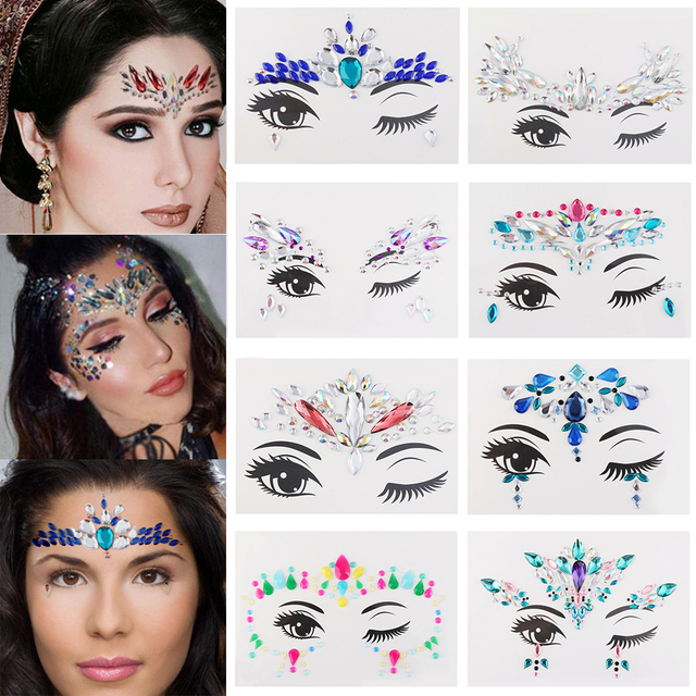 Adhesive Face Stickers Jewelry Gems Temporary Tattoo Face Jewelry Festival  Party Body Gems Rhinestone Flash Tattoos 0100c0e2f316