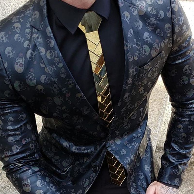 Acrylic Mirror Skinny Gold Necktie Olive Branch Geometric Wedding Accessory Fashion Jewelry for Men Women Outfit