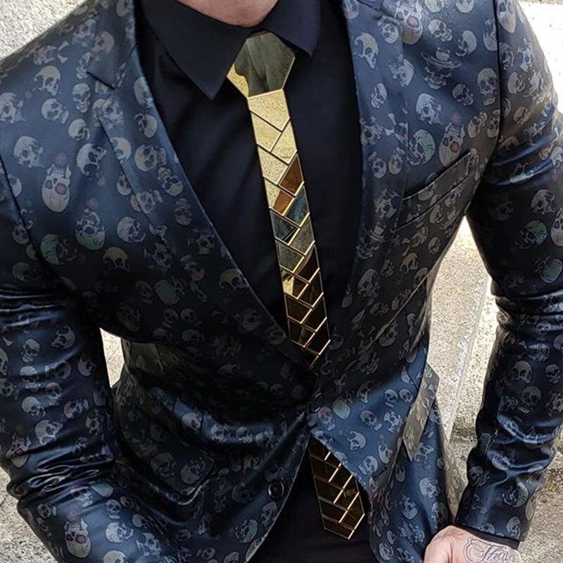 24K or miroir Skinny cravate Olive branche géométrique mariage marié acrylique Satin cravates mode accessoire 5cm cou cravate 8 couleurs