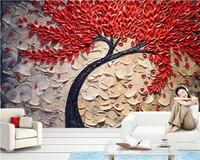 Beibehang مخصصة 3d خلفيات الأحمر فورتشن شجرة النفط الطلاء سكين القلم ستيريو خلفية جدار صور خلفيات papel دي parede