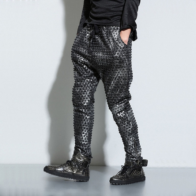 American and European Cool Hip Hop Punk Harem Pants Loose Fit Baggy Drop Crotch Gothic Black Joggers Trousers For Men Hipster