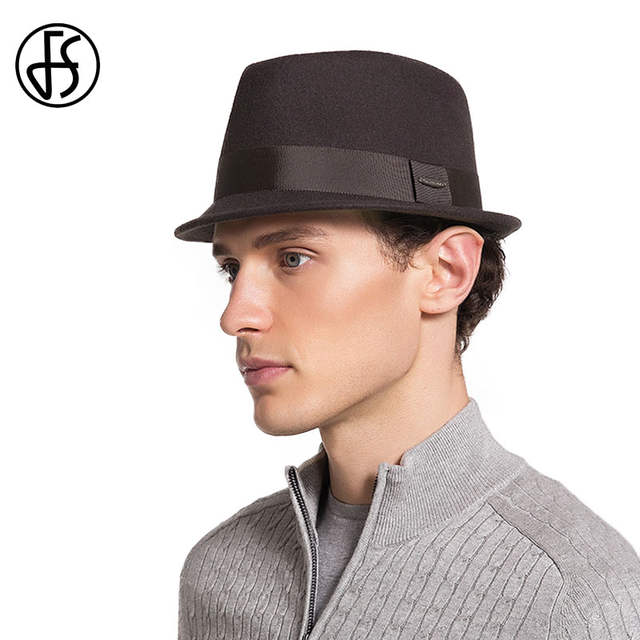 c1a63b70685 FS Winter Mens Fedora Hats Quality Australia Wool Felt Hats Short Brim  Cappello Vintage Retro British