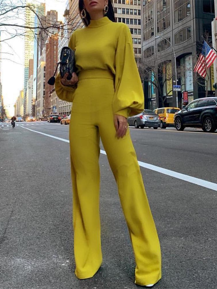 2019 Women Elegant Fashion Slim Fit Yellow Solid Skinny Casual Overalls Office Look Work Lantern Sleeve Mock Neck   Jumpsuits