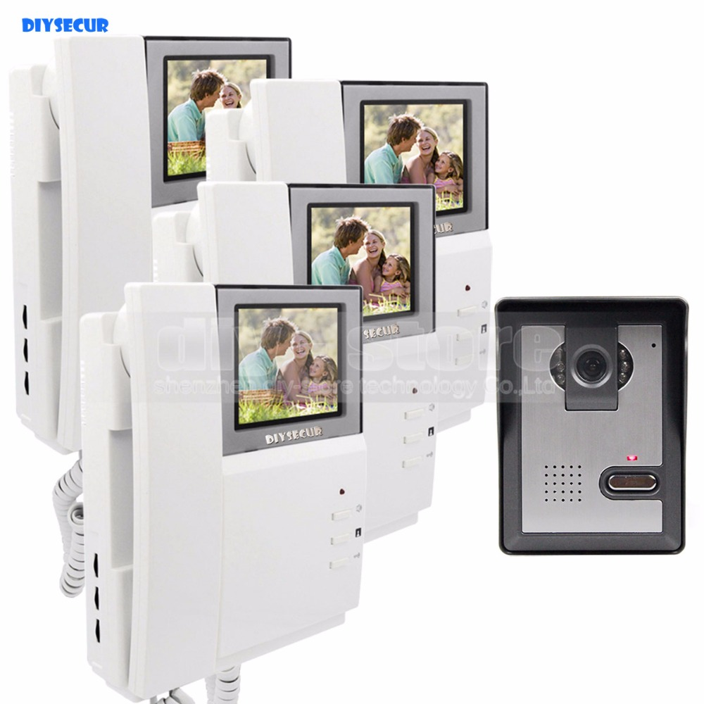DIYSECUR 4.3inch Video Intercom Video Door Phone Doorbell 600TV Line Night Vision Outdoor Unit for Home / Office Security System