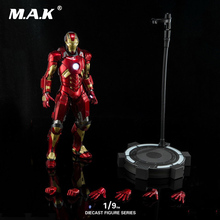 1/9 The Avengers Alloy DIECAST SCENE SERIES DFS045 Iron Man MK11 Mark XI Action Figure Model with Base for Fans Collection 1 9 diecast figure series dfs023 iron man mark1 collectible dolls figures collections