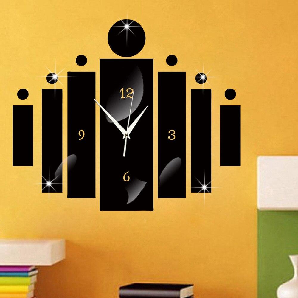 DIY Large Wall Clock 3D Mirror Sticker Big Watch Home Decor Unique ...