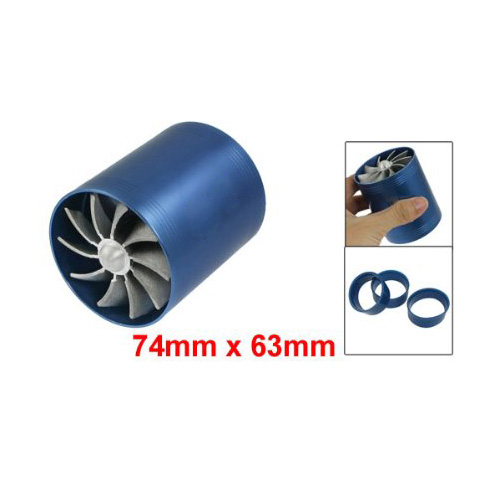 TOYL F1-Z Double Turbine Turbo Charger Air Intake Gas Fuel Saver Fan Car (Blue)