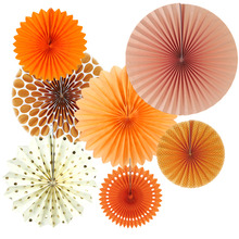 Set of 7 Orange Theme DIY Paper Crafts Fans Rosettes Photo Backdrop for Birthday Wedding Baby Shower Party Hanging Decor