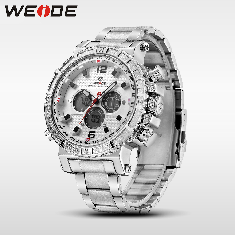 все цены на WEIDE men watch luxury brand sport digital watches stainless steelin quartz LCD watches analog automatic clock fashion & casual онлайн
