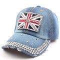 New Union Jack Strass chapéu de cowboy chapéu feminino boné de beisebol boné de beisebol de Strass