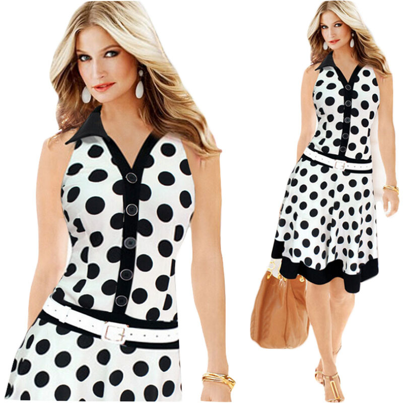 US $12.88 |Summer Style Women Dress Plus Size Dresses 2018 New Exoplosion  Models Polka Dot Printing Sleeveless Dress Vestido Mujer C145-in Dresses ...