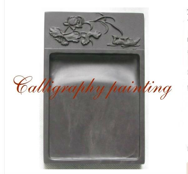 6 дюйм(ов) китайский Zhaoqing Duan Yan чернила камень резные птицы и цветы прямоугольник Inkstone 10552