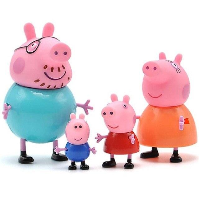 Peppa pig George porco da guiné Family Pack Mãe Pai Figura de Ação Original Pelucia Anime Brinquedos Brinquedo de Presente de Natal