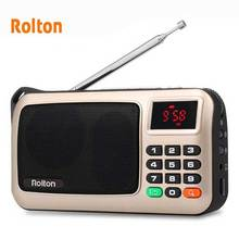 Rolton Mni FM Portable Radio Speaker Mp3 Music Player TF Card USB For PC iPod Phone With LED Display And Flashlight Check lamp