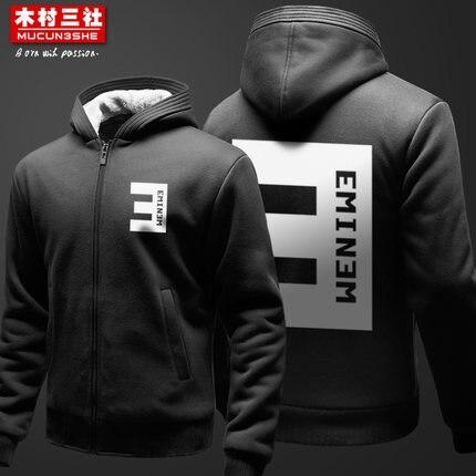 New Casual Winter Men Women Hip-hop Eminem Thicken Hoodie Zipper Warm Hooded Coat