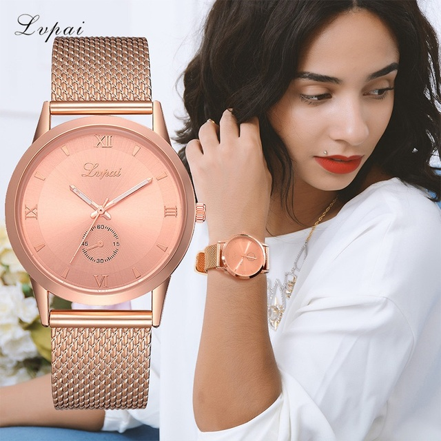 Lvpai Women's Casual Quartz Silicone strap Band Watch Analog Wristwatch Ladies Q