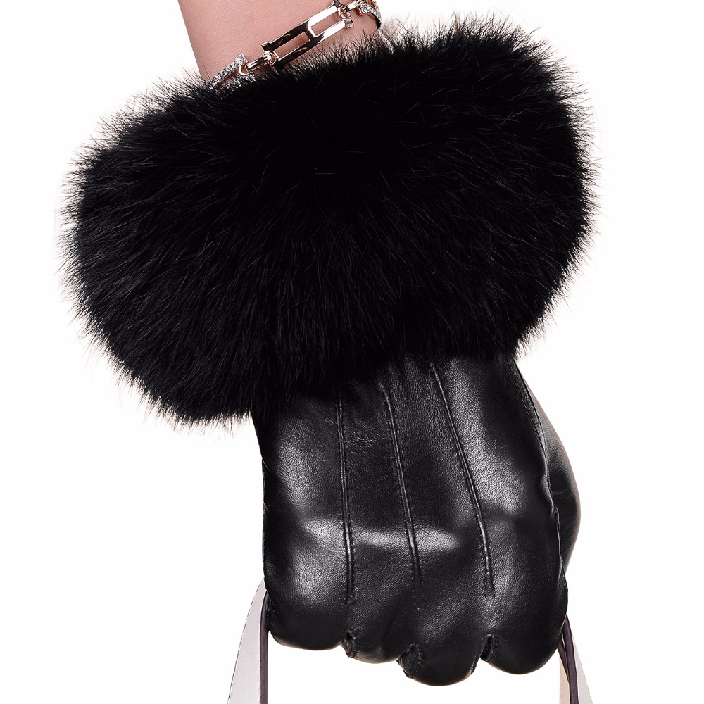 Black leather gloves female - Winter Black Sheepskin Mittens Leather Gloves For Women Rabbit Fur Wrist Top Sheepskin Gloves Black Warm