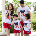 Family Matching Outfit Short Sleeve T-shirt+Shorts Cotton Family Clothing Sets Mother Daughter Father Son Family Set 3XL 4XL DL8