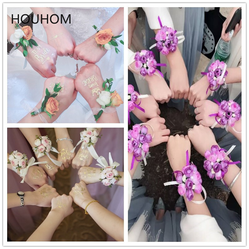 Bridesmaid Gift Team-Bride Temporary Stickers/Artificial Wrist Flower Wedding Favors And Gifts For Guests Personalized Gift
