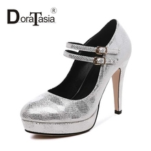 DoraTasia Size 32-40 Fashion  Women Mary Jane High Heel Party Wedding Shoes Round Toe Double Buckle Platform Pumps