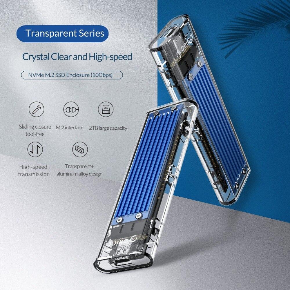 ORICO D'origine Mini NVME M.2 à type-c boîtier SSD m.2 usb Gen2 10gbps M.2 Clé Extérieur Transparent Soutien UASP pour Samsung SSD