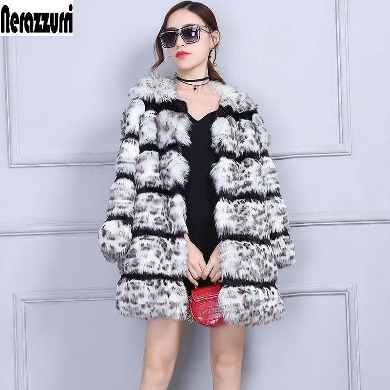 fee83943707 LALAIKAI Chic Winter Faux Fur Coat Women Sexy Luxury Coat Fashion Fake Fur  Jacket Leopard Print Outerwear Plus Size ...