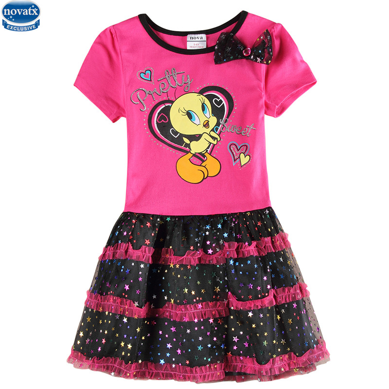2015 New Fashion Prinetd Hoot Cartoon Cotton PatternWith Bow And Star Hemline Summer Girls Dresses Nova kids Clothes Retail