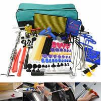 Herramientas PDR, herramientas de reparación de abolladuras sin pintura, juego con caña de pescar, ganchos, lifter de abolladuras, pistola de pegamento, lengüetas de pegamento, tira led, martillo deslizante